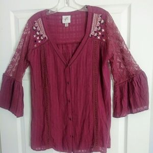 KNOX ROSE - Button Down Embroidered Boho Top